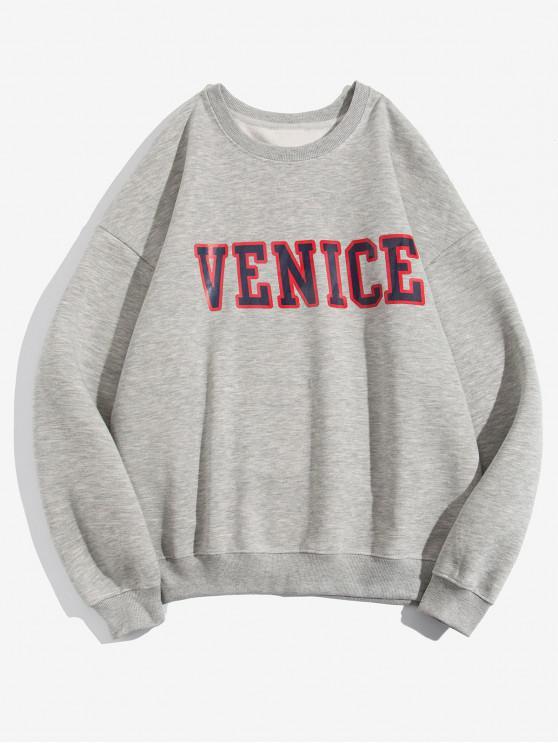 online Venice Letter Print Fleece Sweatshirt - GRAY 3XL
