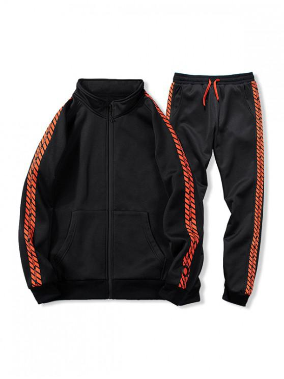 buy Pocket Two Piece Gym Outfits - BLACK 2XL