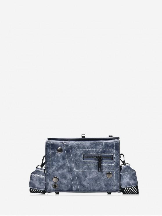 best Zipper Retro Square Shoulder Bag - SLATE BLUE
