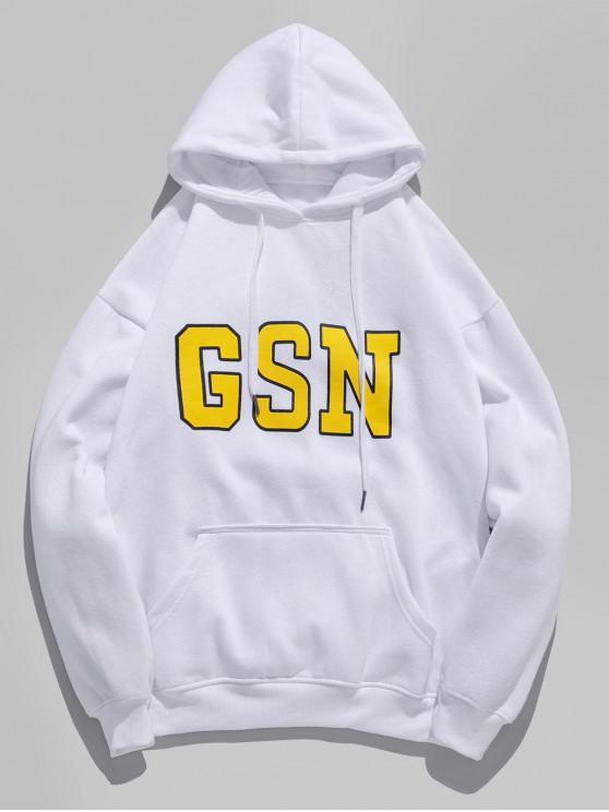 fashion GSN Letter Print Fleece Drawstring Hoodie - WHITE M