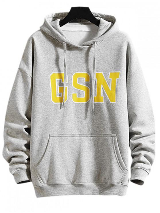 hot GSN Printed Hoodie - LIGHT GRAY M