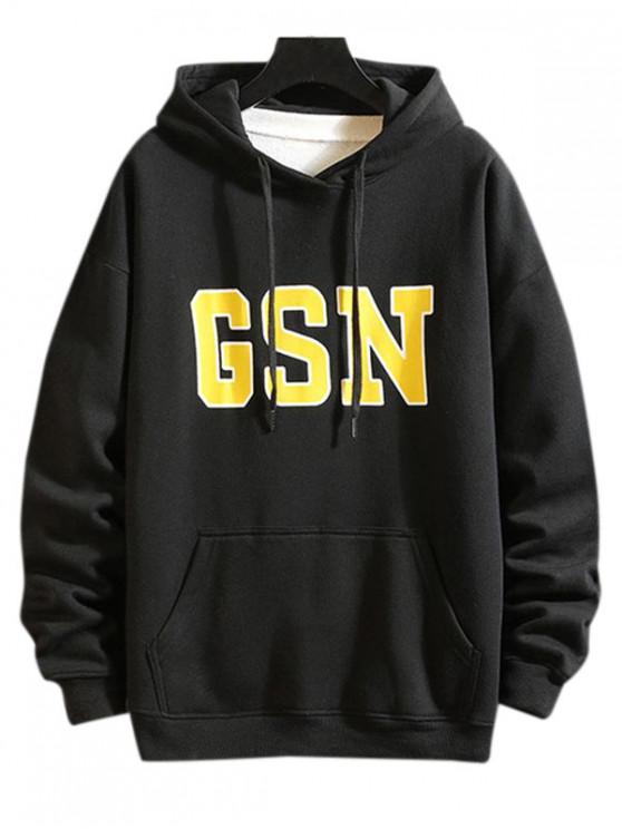 best GSN Printed Hoodie - BLACK 2XL