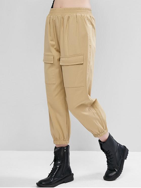 trendy ZAFUL High Waisted Capri Cargo Jogger Pants - LIGHT KHAKI L