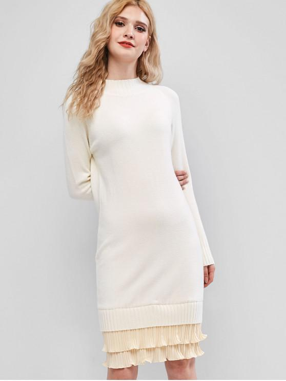 buy Mock Neck Pleated Hem Sweater Dress - WARM WHITE ONE SIZE