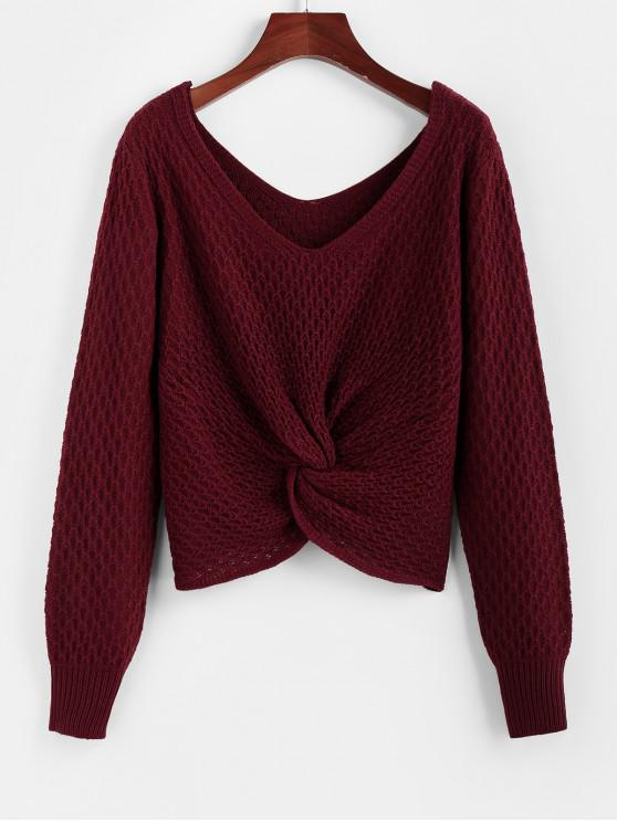 sale ZAFUL V Neck Twisted Jumper Sweater - RED WINE S