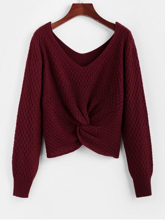 fancy ZAFUL V Neck Twisted Jumper Sweater - RED WINE L