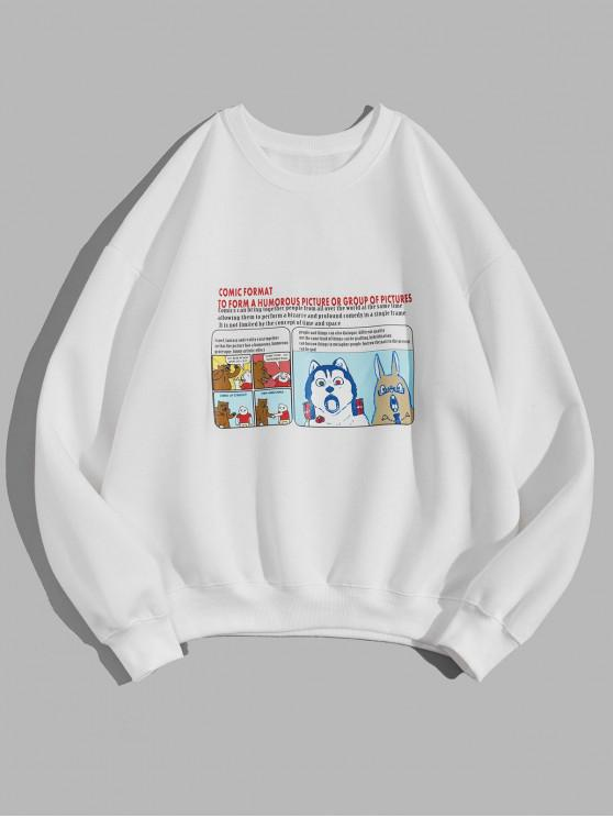 affordable Cartoon Animal Graphic Letter Print Fleece Sweatshirt - WHITE L