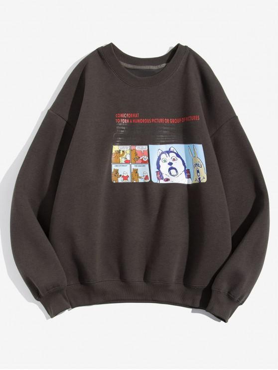 Cartoon Tier Grafik Buchstabe Druck Vlies Sweatshirt aus Flecce - Kaffee XL