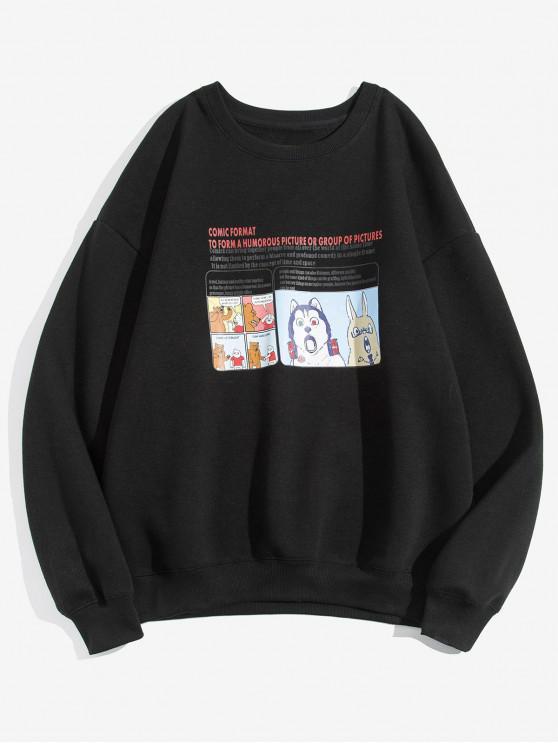buy Cartoon Animal Graphic Letter Print Fleece Sweatshirt - BLACK M