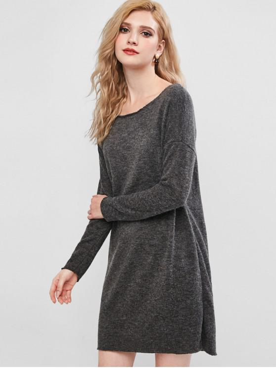 chic Drop Shoulder Mini Sweater Dress - GRAY S