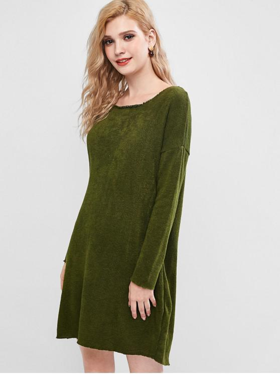 women Drop Shoulder Mini Sweater Dress - GREEN XL