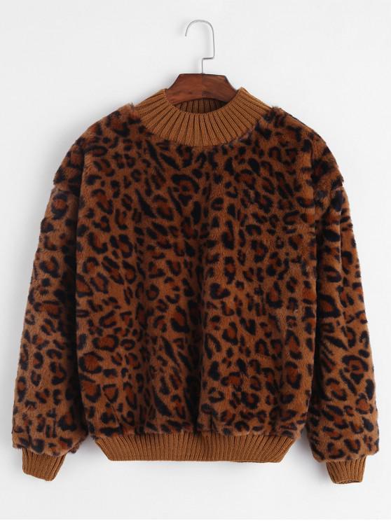 outfit Knit Trim Leopard Faux Fur Sweatshirt - COFFEE ONE SIZE