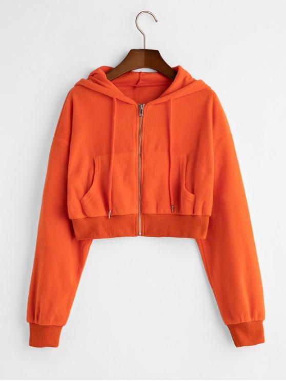 chic Drawstring Zip Front Pockets Fleece Hoodie - PAPAYA ORANGE S