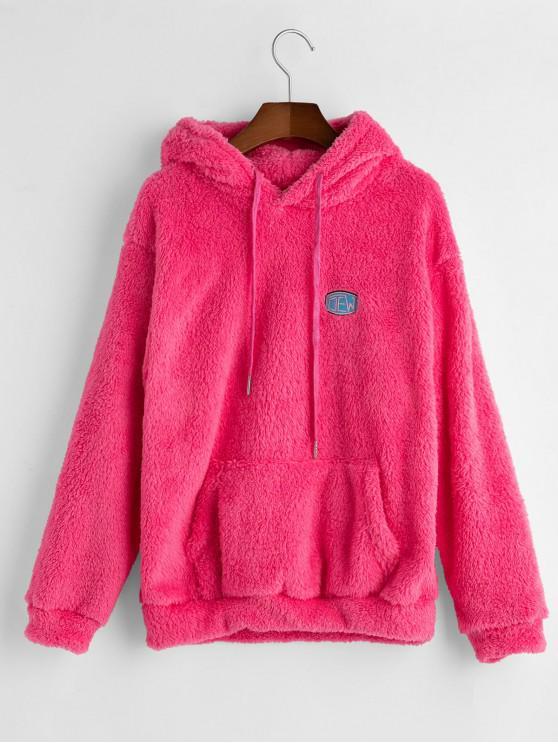 Cordão Frente bordado bolso Fluffy Hoodie - Rosa S
