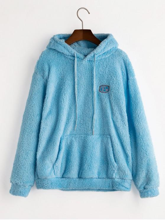 shops Drawstring Embroidered Front Pocket Fluffy Hoodie - CRYSTAL BLUE S