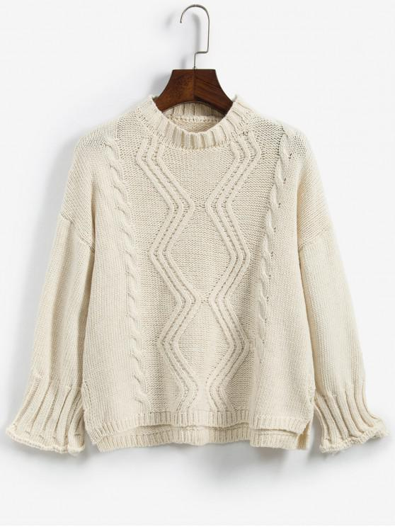 chic Cable Mixed Knit Drop Shoulder Sweater - WARM WHITE ONE SIZE