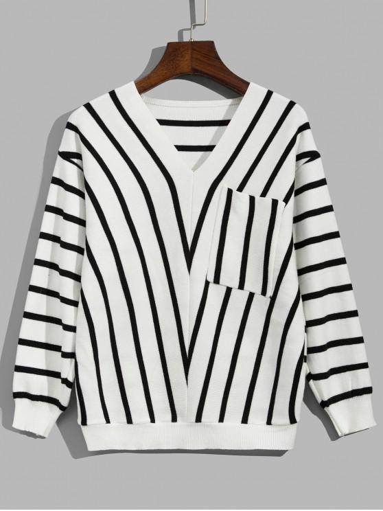 online Striped Drop Shoulder Pocket Sweater - WHITE ONE SIZE