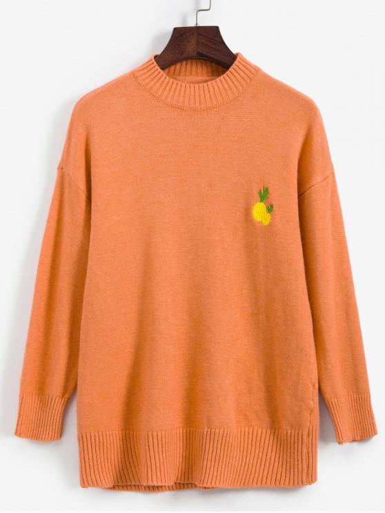 hot Fruit Embroidered Drop Shoulder Sweater - ORANGE ONE SIZE