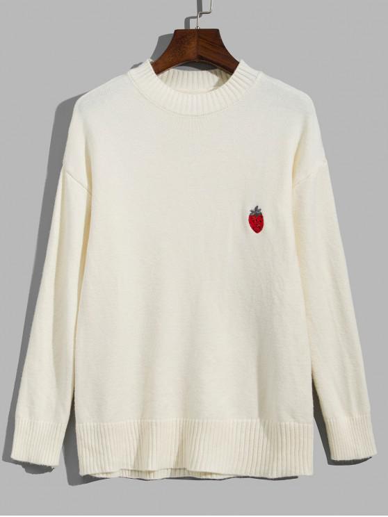 Obst Gestickter Tropfen Schulter Pullover - Warmweiß Eine Größe