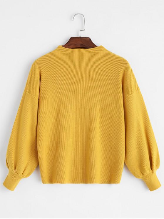 women Crew Neck Drop Shoulder Lantern Sleeve Sweater - YELLOW ONE SIZE