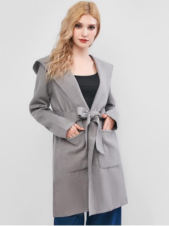 С капюшоном Карман Длинное Пальто - Серый Один размер