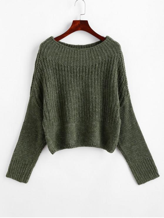ladies Dolman Sleeves Chunky Solid Sweater - ARMY GREEN S