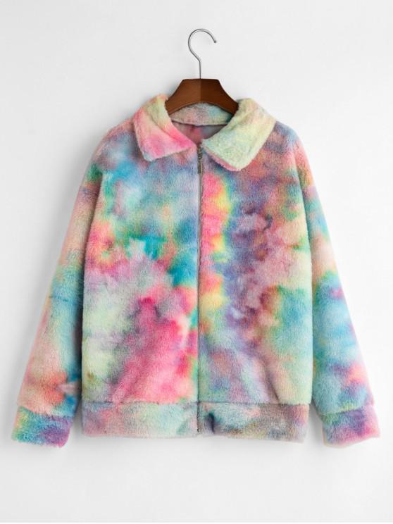 fashion Zip Front Tie Dye Faux Fur Fluffy Coat - MULTI-A L