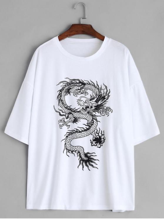 shop Dragon Print Round Neck Short Sleeves Tee - WHITE L