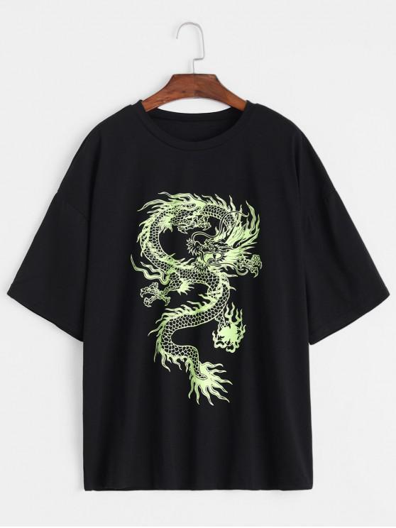 trendy Dragon Print Round Neck Short Sleeves Tee - BLACK M