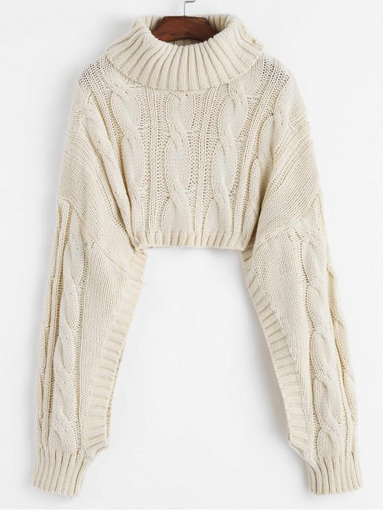 shops Cable Chunky Knit Crop Drop Shoulder Sweater - WARM WHITE ONE SIZE