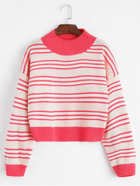 outfits Mock Neck Stripe Drop Shoulder Sweater - PINK ONE SIZE