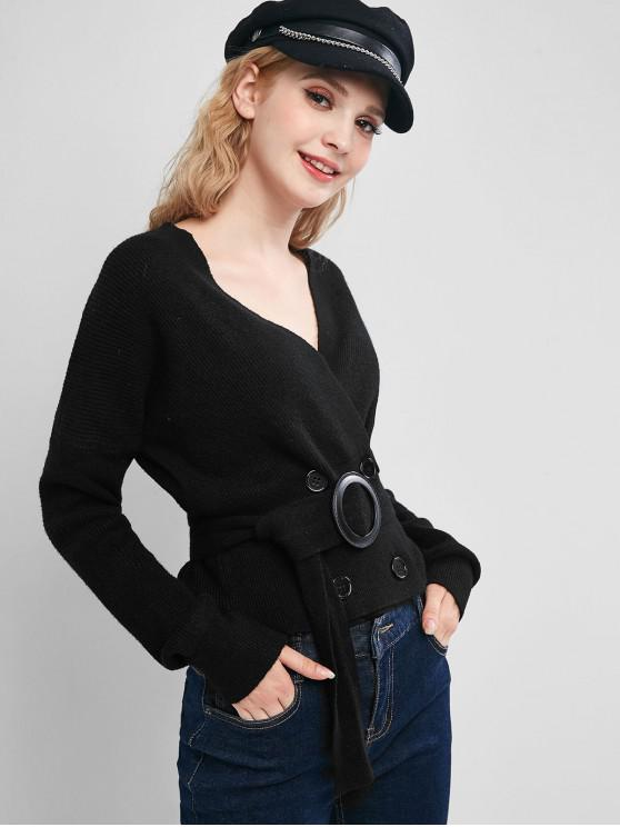 womens Double Breasted Drop Shoulder Belted Cardigan - BLACK ONE SIZE