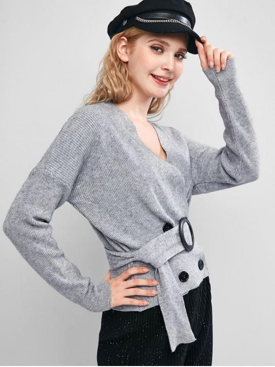 women's Double Breasted Drop Shoulder Belted Cardigan - GRAY ONE SIZE