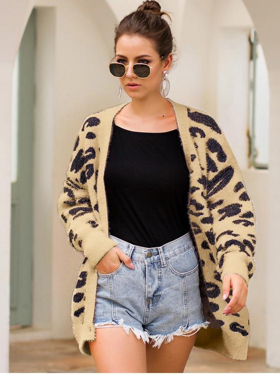 shops Leopard Fuzzy Knit Drop Shoulder Cardigan - KHAKI L