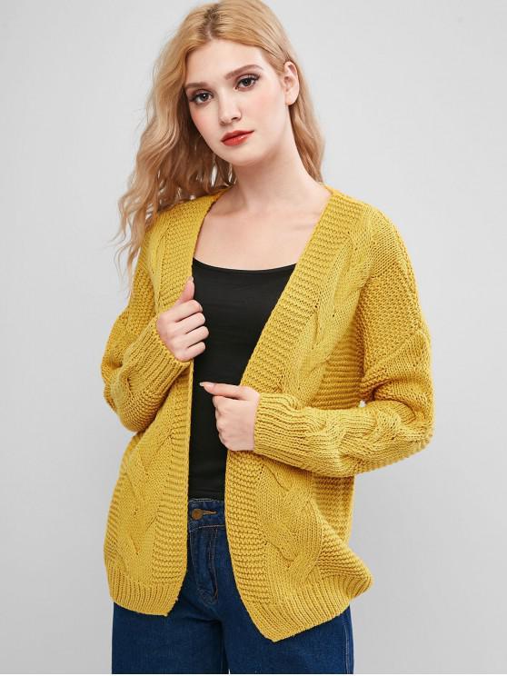 shop Cable Mixed Knit Open Drop Shoulder Cardigan - ORANGE GOLD XL