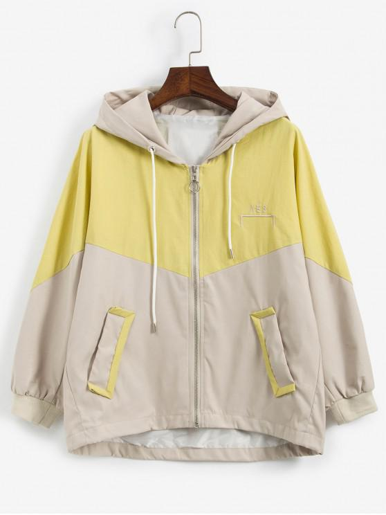 lady Hooded Two Tone Pocket Batwing Sleeve Zip Jacket - YELLOW XL