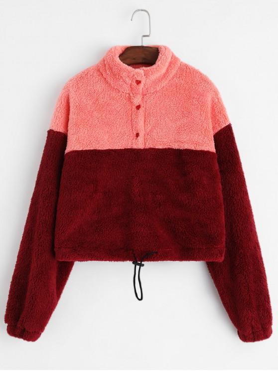 outfits ZAFUL Two Tone Half Buttoned Toggle Drawstring Fluffy Sweatshirt - MULTI S