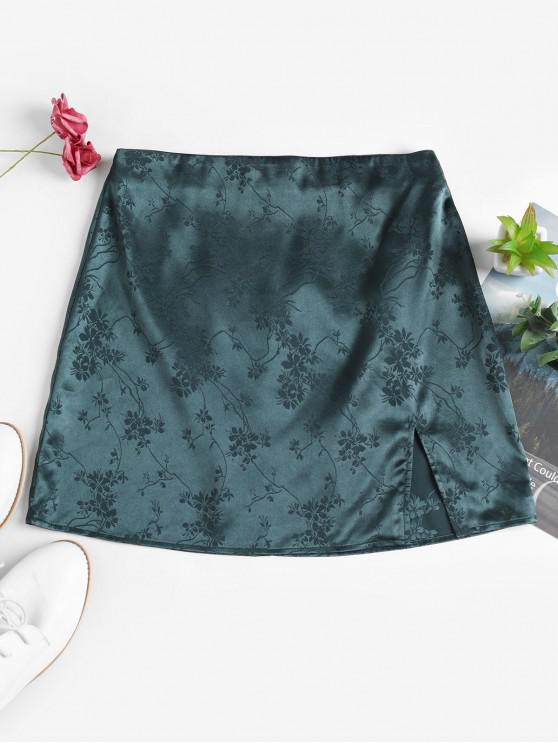 ZAFUL Mini-Jupe Fendue Fleurie Zip au Dos en Jacquard - Vert Mer Moyen S