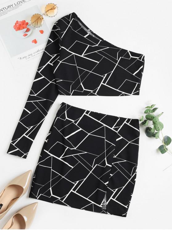 new ZAFUL Geometric One Shoulder Slit Two Piece Skirt Set - BLACK XL
