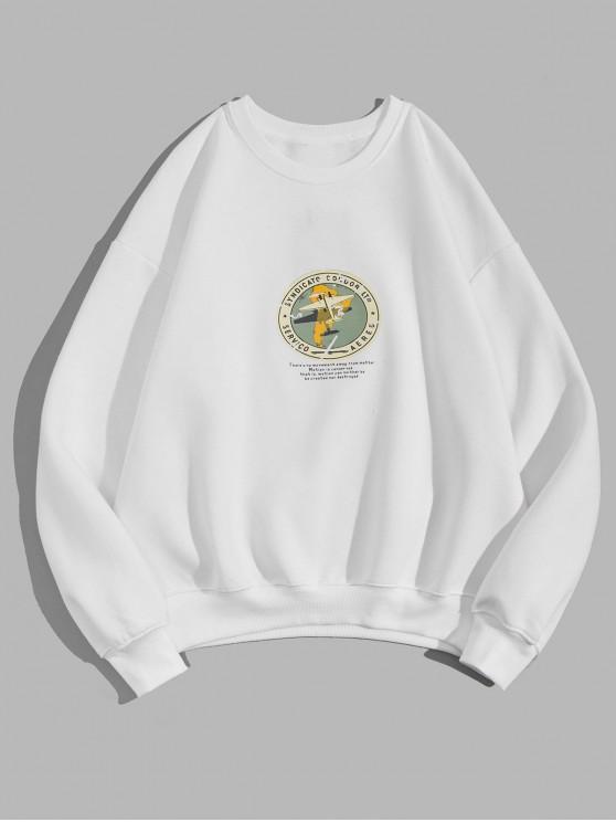 Sweat-shirt Décontracté Géométrique Graphique Imprimé en Laine - Blanc 3XL