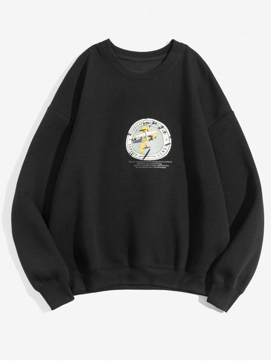 Geometric Graphic Print Casual Fleece Sweatshirt - Negru 3XL