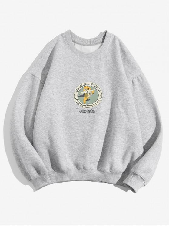 Geometric Graphic Print Casual Fleece Sweatshirt - gri S