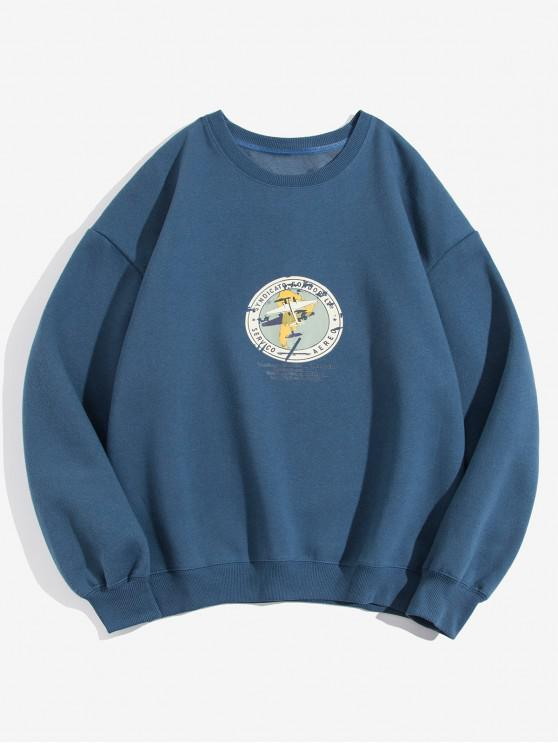 Geometric Graphic Print Casual Fleece Sweatshirt - Albastru XL