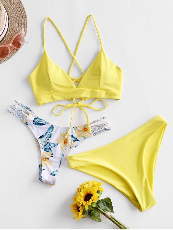 fashion ZAFUL Flower Braided Lace Up Three Pieces Bikini Swimsuit - YELLOW S