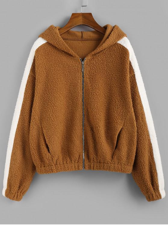shop ZAFUL Hooded Drop Shoulder Zip Up Teddy Coat - BROWN XL