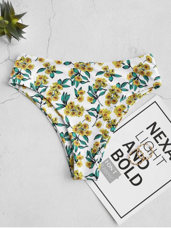 chic ZAFUL High Cut Floral Bikini Bottom - WHITE S