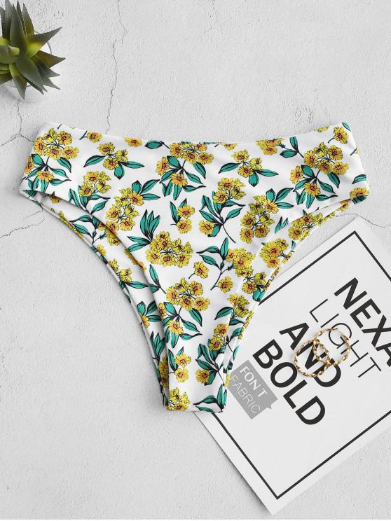 ZAFUL de mare Cut Floral Bikini Bottom - alb L