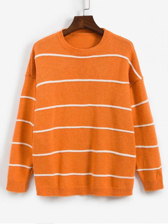 womens Striped Drop Shoulder Boyfriend Sweater - ORANGE ONE SIZE