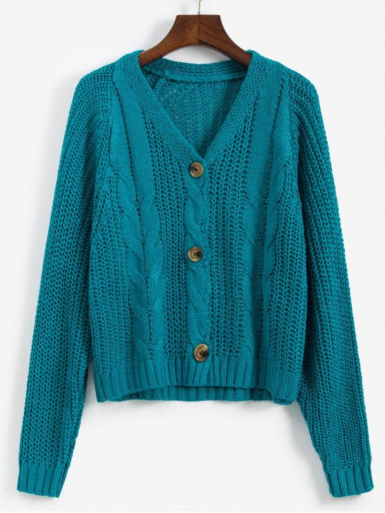 Cablu Chunky Knit Raglan Sleeve Cardigan - Albastru verzui O marime