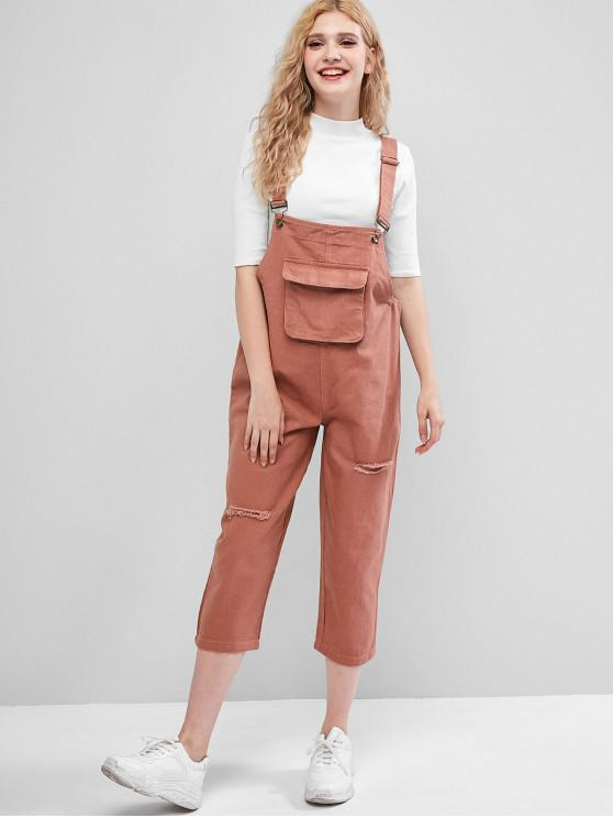 fashion Ripped Flap Pocket Denim Pinafore Jumpsuit - ROSE S